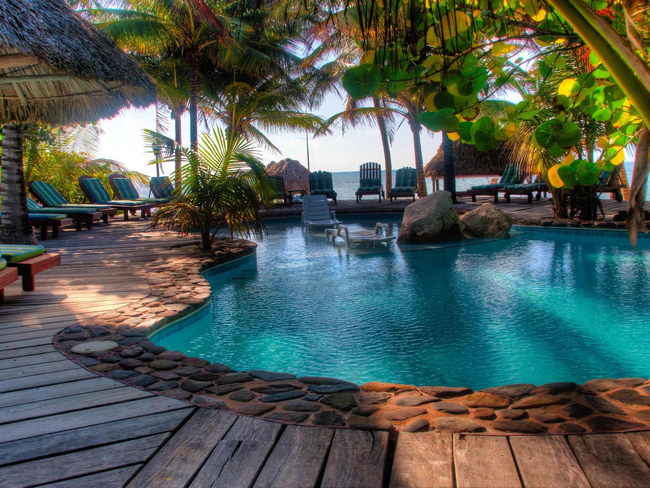 The secluded pool area at Xanadu Island Resort on Ambergris Caye