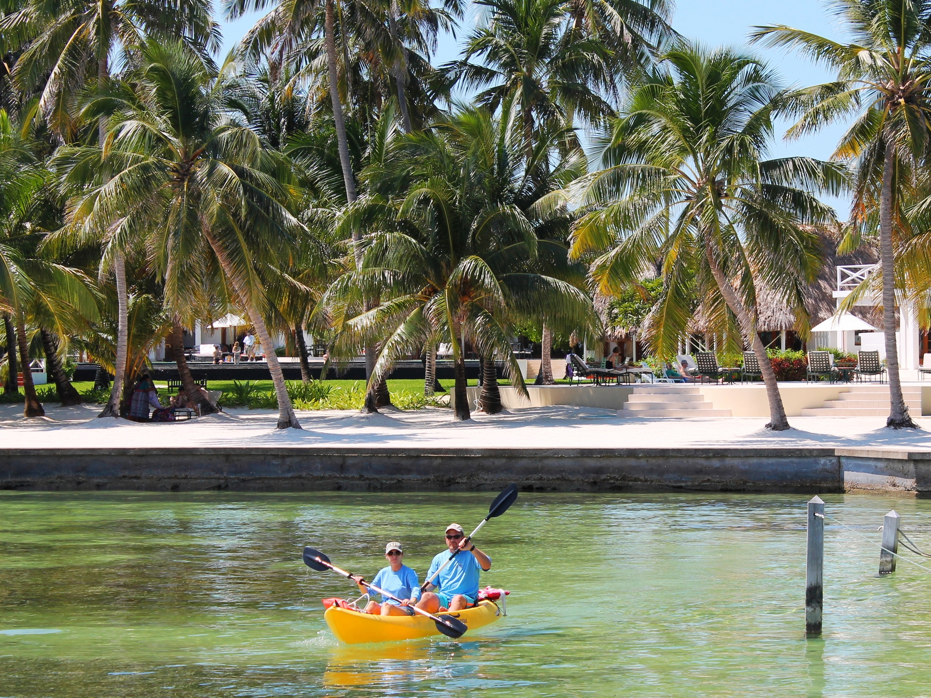 Many resorts offer complimentary use of sea kayaks