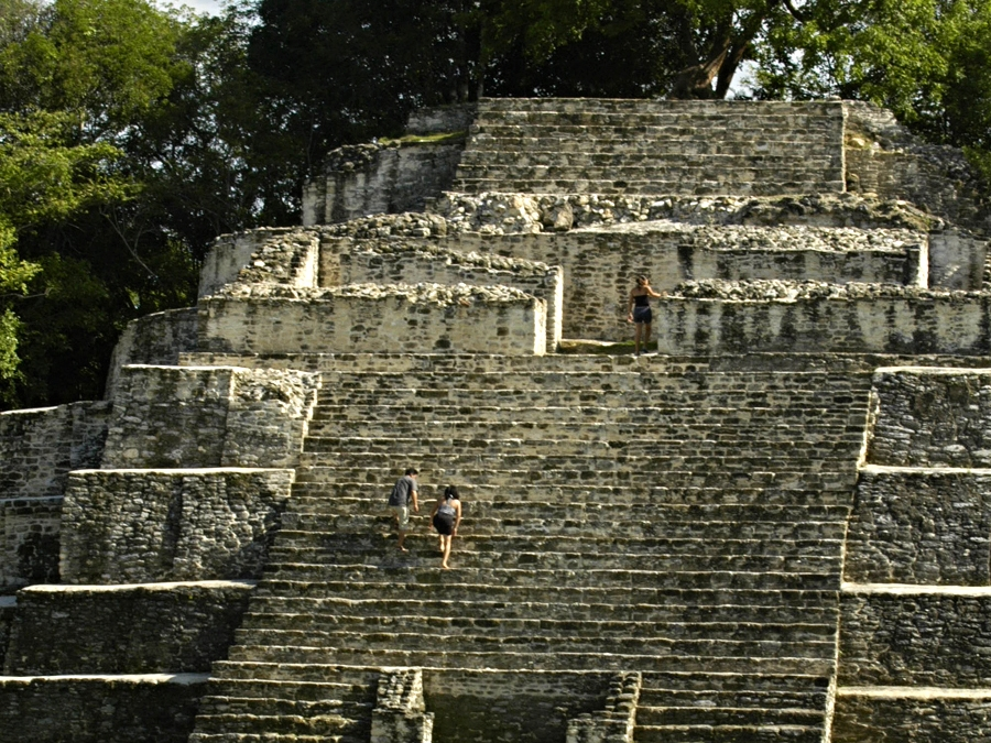 Scaling the massive temples at the Lamanai Maya Site