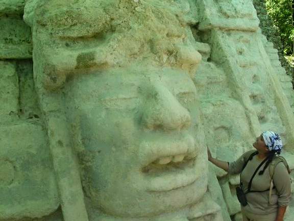 The mysterious Maya Face at the Lamanai Maya Site
