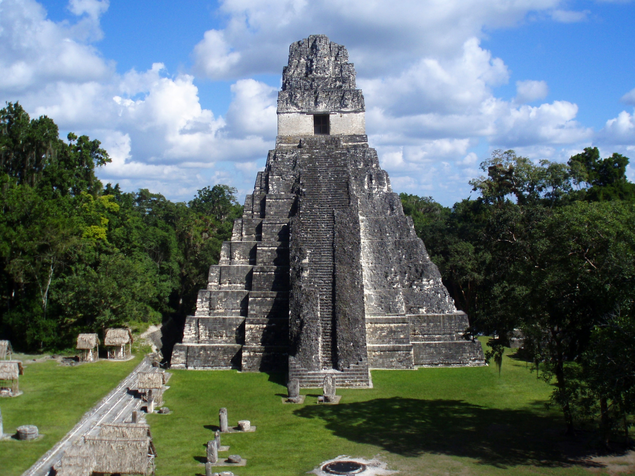 Temple I or the Temple of the Jaguar dominates the Central Acropolis at Tikal