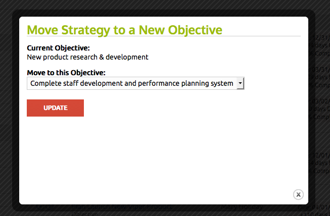 Ability to move strategy or tactics to new objectives or strategy.