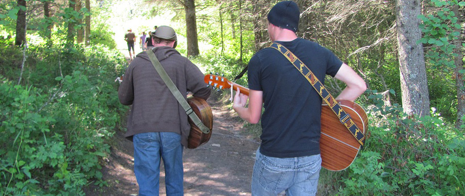 Music en route to the beach, Covenant Heights Bible Camp, Manitoba.