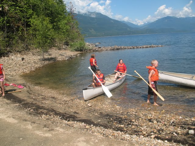 Canoeing in Kootney Lake, Kootney Covenant Bible Camp, BC.