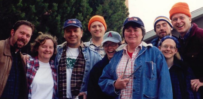 CBCfaculty and staff 1999-2000: Brian Frable, Marta Klein, Neil Josephson, Phil Cannon, Marla (Firby) Pearce, Kathy Brawley, Todd King, Rebekah Eklund, and Del Pease