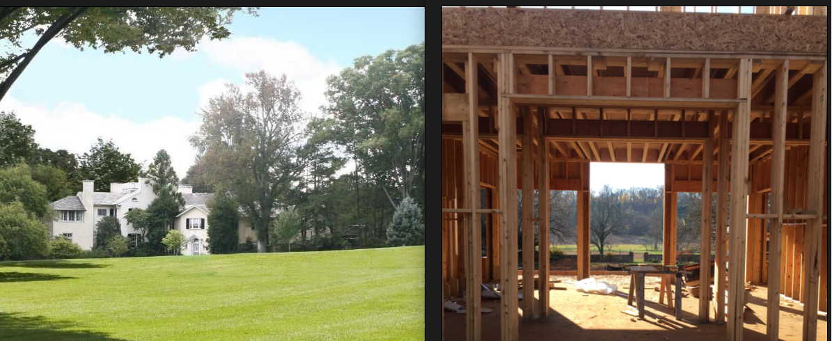 (L) Original english country manor home, (R) Stunning vistas purposely framed in new construction underway at Meadowdale