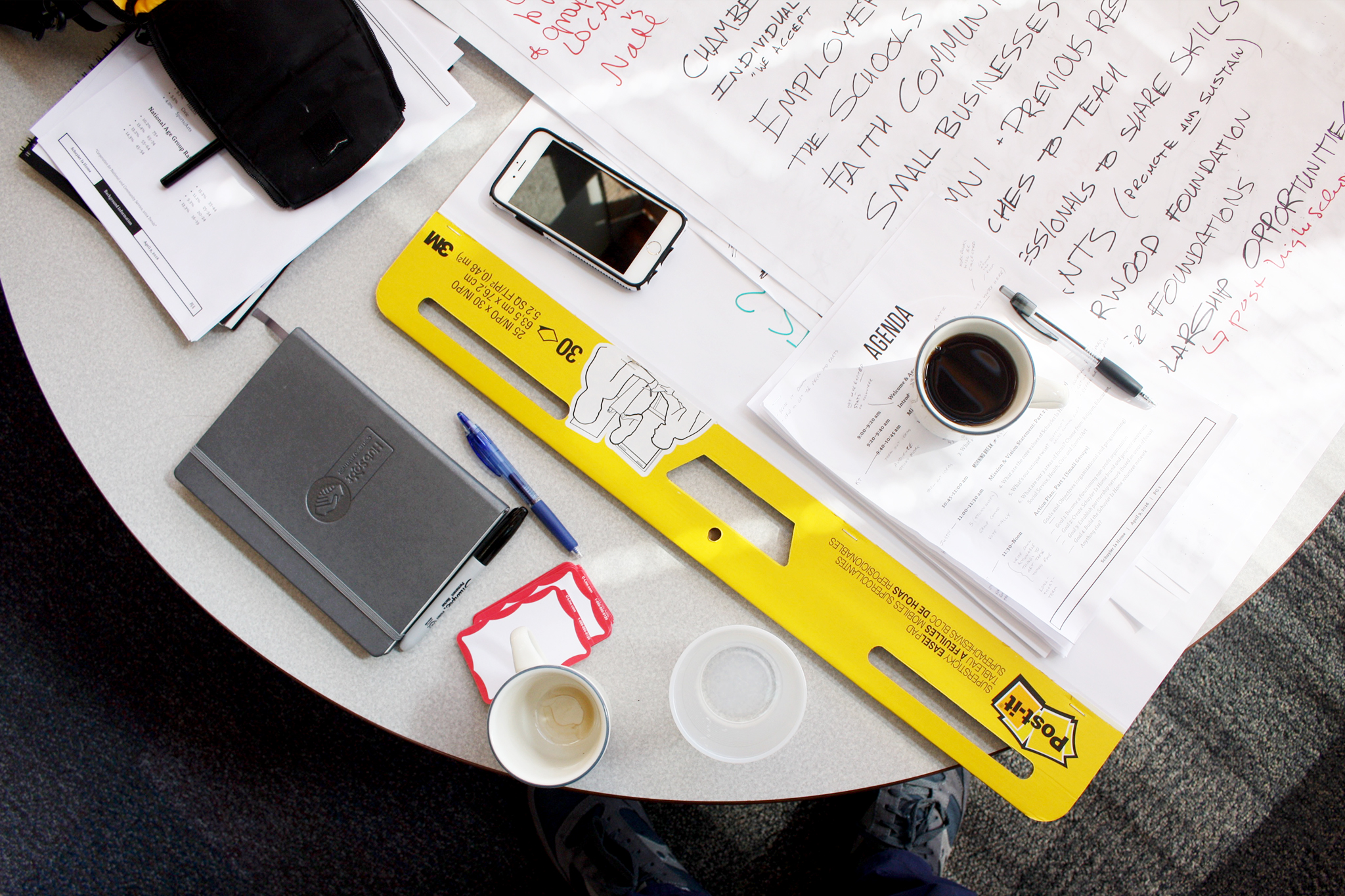 TOOLS: Large easel pads, agendas, workbooks, notes, sharpies, name tags, iPhone, coffee, etc.