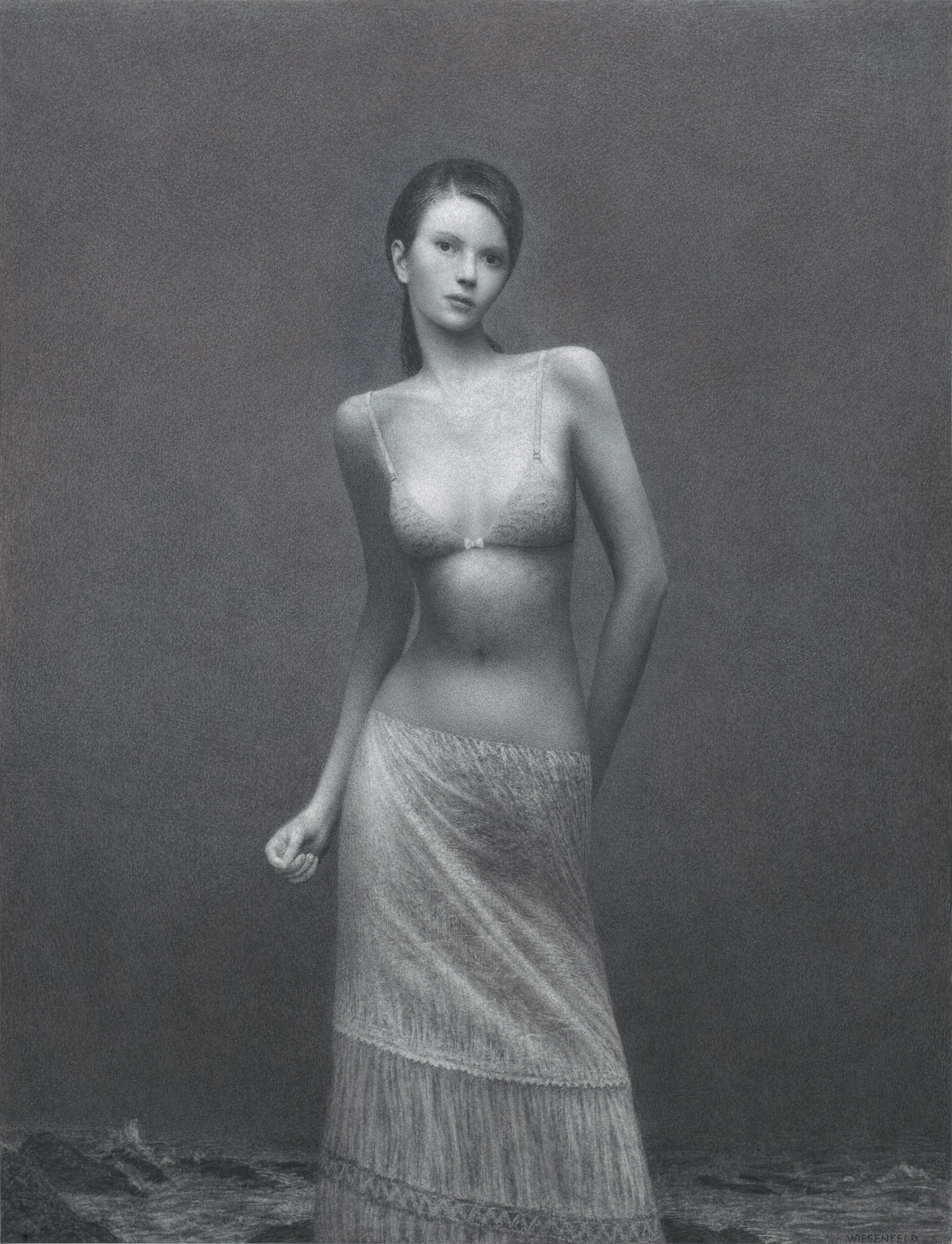 Nightingale , charcoal on paper, 50 x 38 in / 127 x 97 cm, 2010