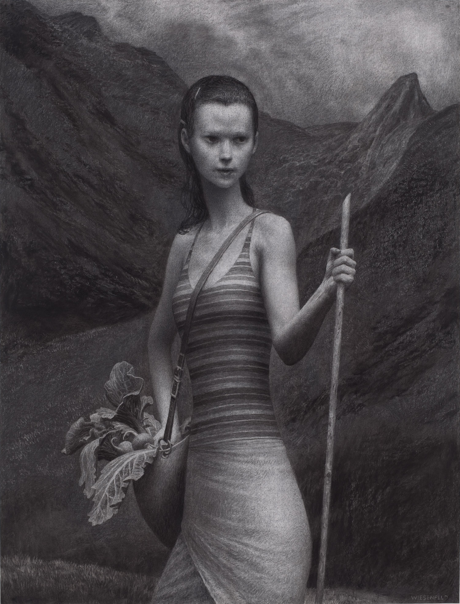 The Gathering, charcoal on paper, 50 x 38 in / 127 x 97 cm, 2009