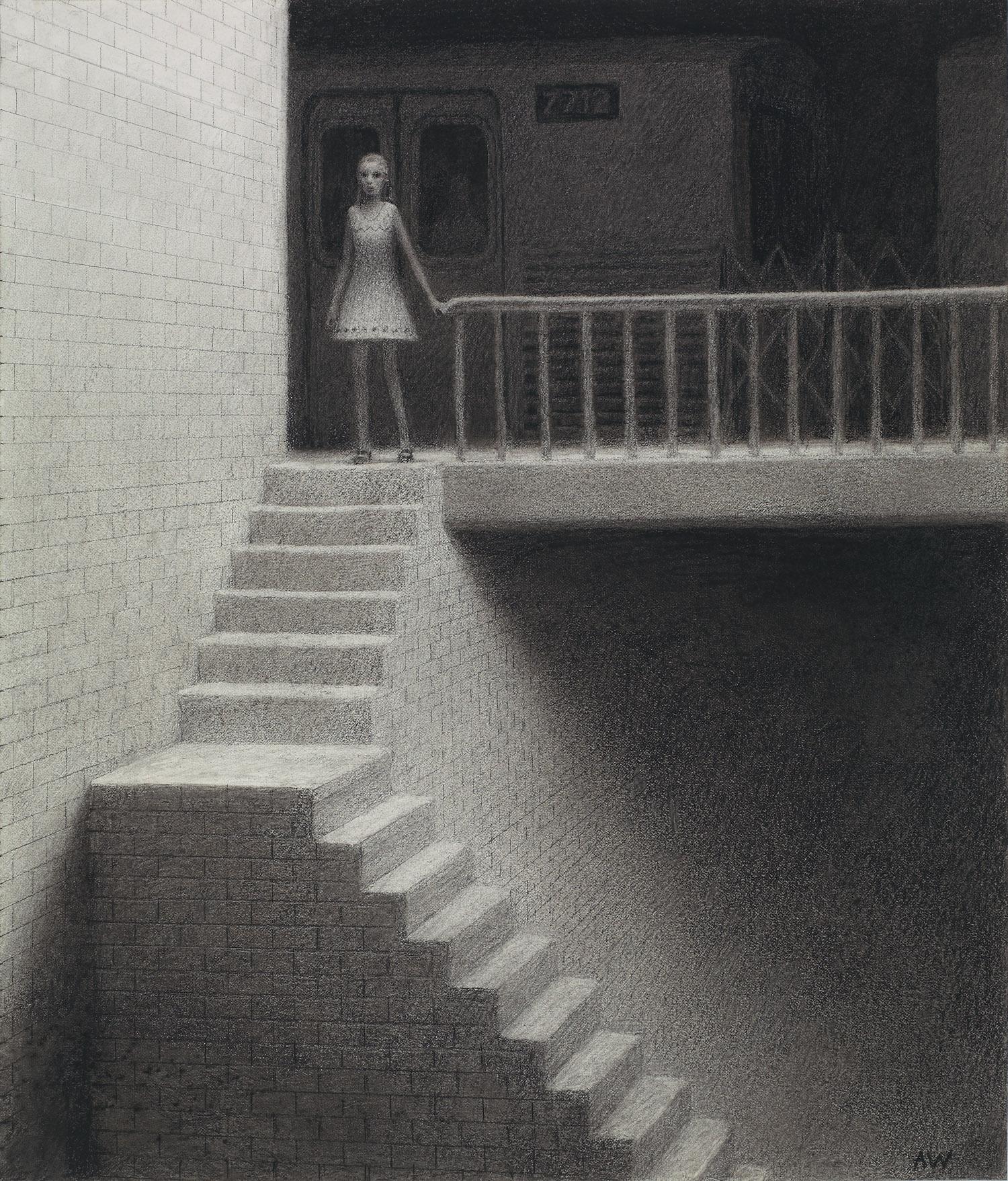 Tunne l, charcoal on paper, 16.5 x 14 in / 42 x 36 cm, 2008