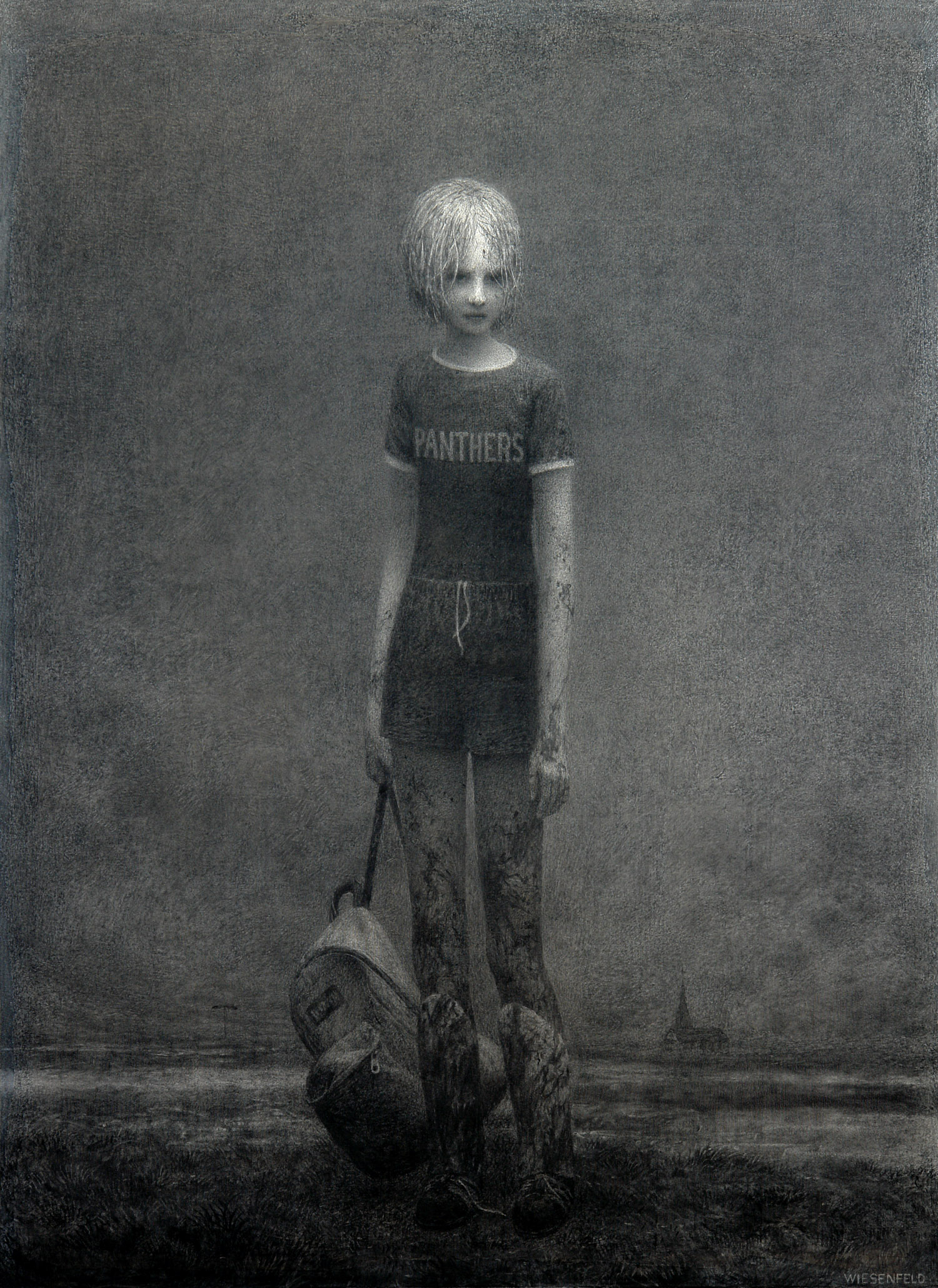 Suspended , charcoal on canvas, 53 x 38.5 in / 135 x 98 cm, 2008