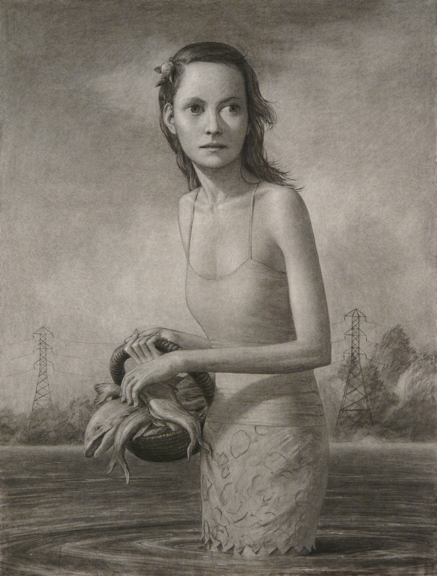 Fish Gatherer , charcoal on paper, 50 x 38 in, 2006