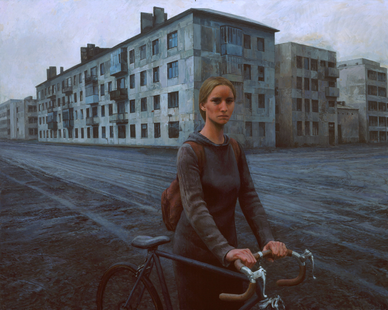 Girl With Bike , oil on canvas, 48 x 60 in, 2003