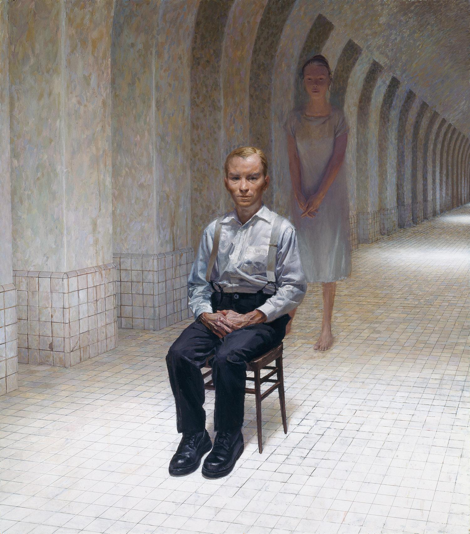 Hallway , oil on panel, 55 x 48 in, 1999