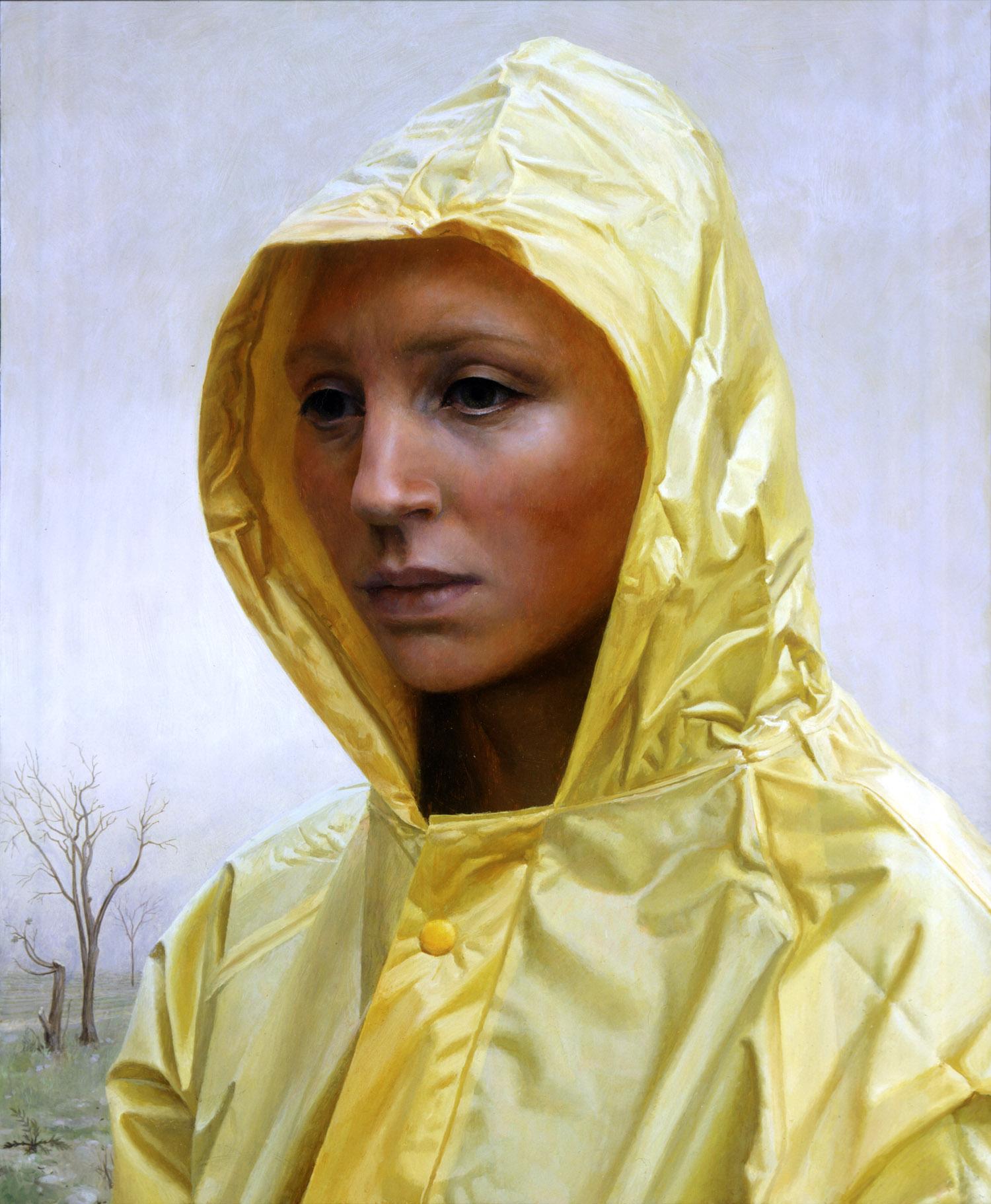 Raincoat , oil on panel, 23 x 19 in, 2002