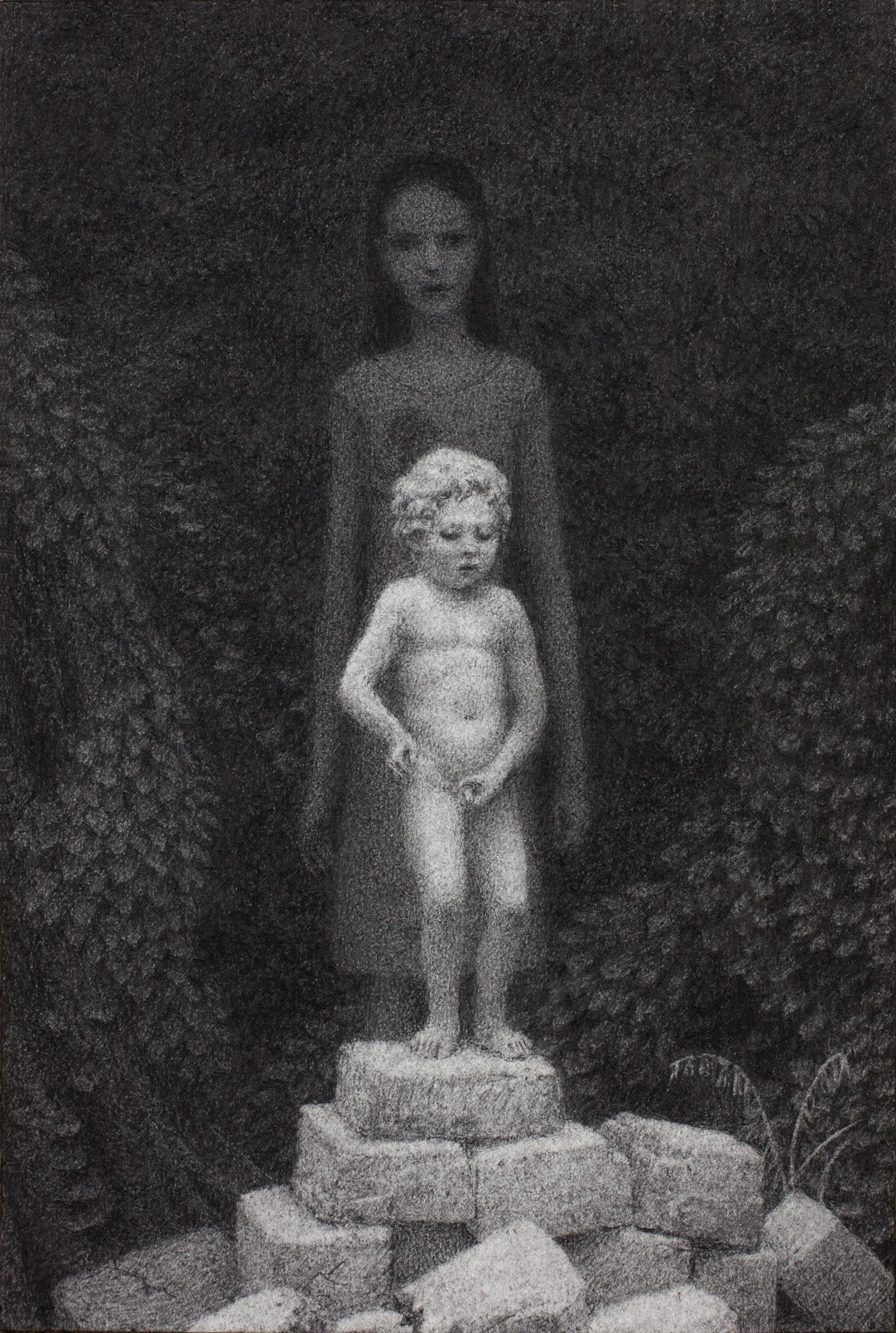 Vigil 5 , charcoal on paper, 15 x 10 in / 38 x 25 cm, 2013