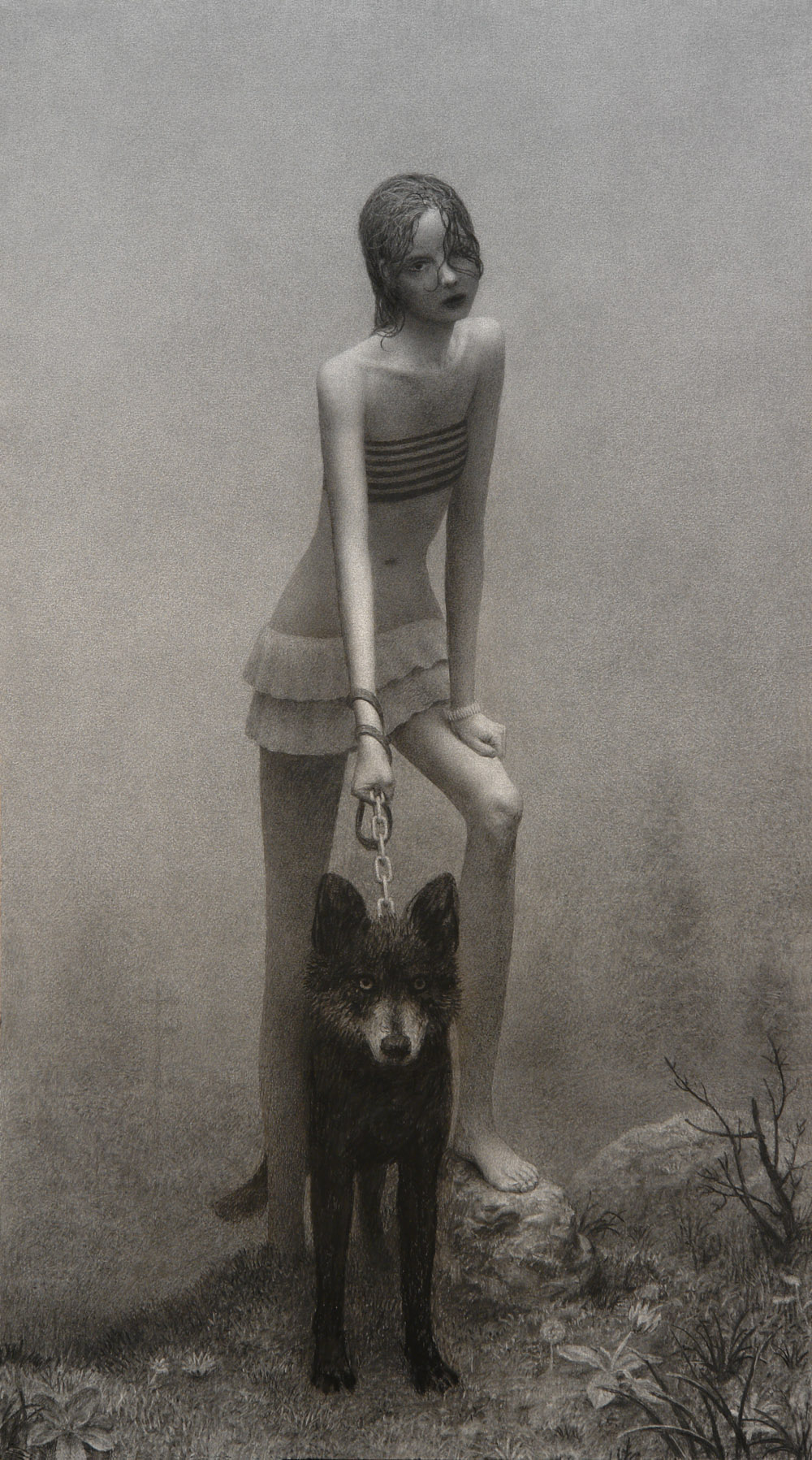 Girl With Dog, 52 x 29 in / 132 x 74 cm, 2008