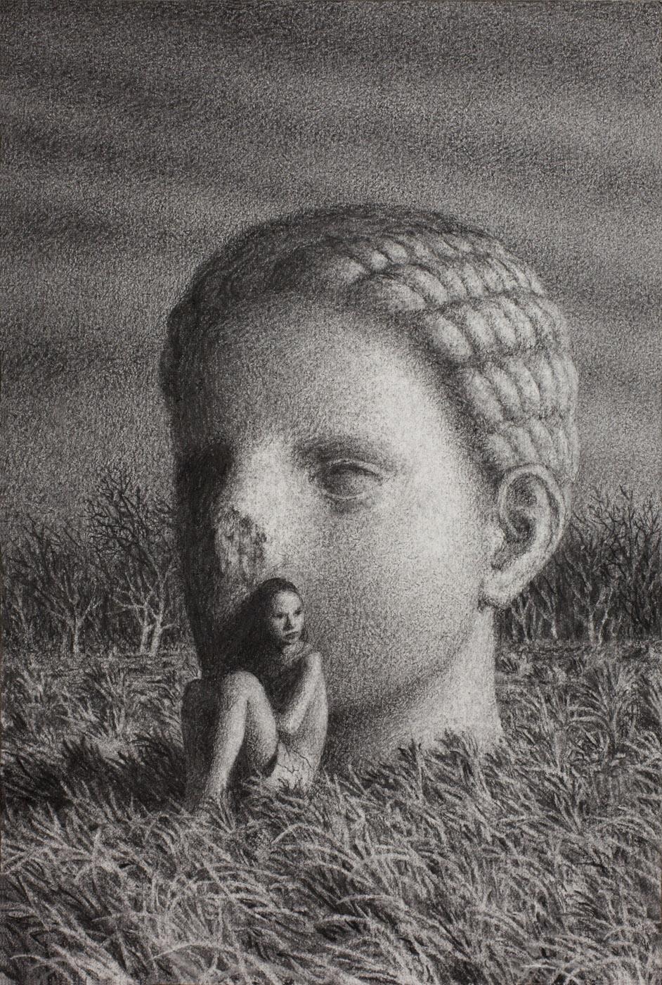 Vigil 8 , charcoal on paper, 15 x 10 in / 38 x 25 cm, 2013