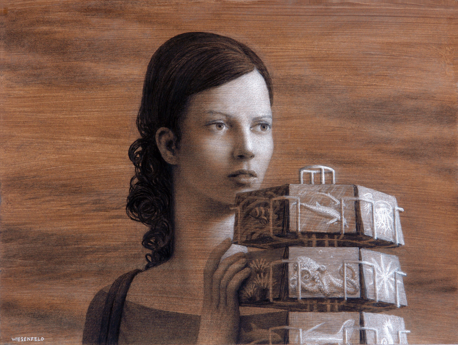 Postcards , charcoal on prepared paper, 18 x 24 in, 2009