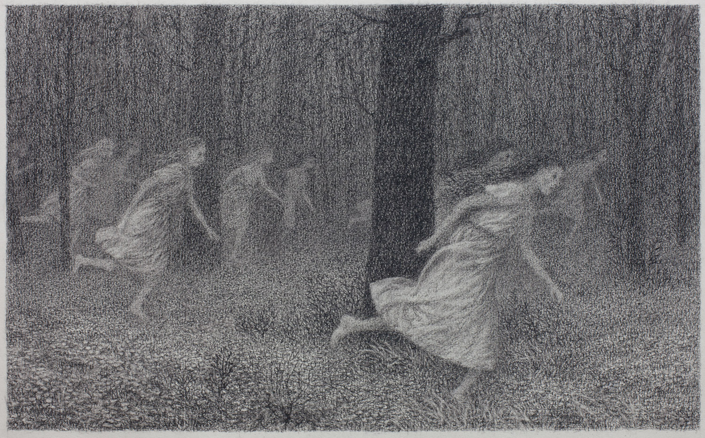 Running Women , conte on paper, 12 x 20 in, 2014