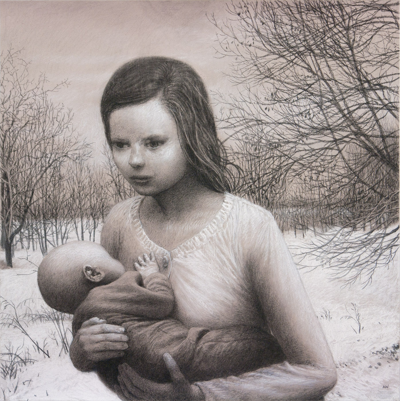 The Heir , charcoal and pastel on paper, 19.5 x 19.5 in, 2011