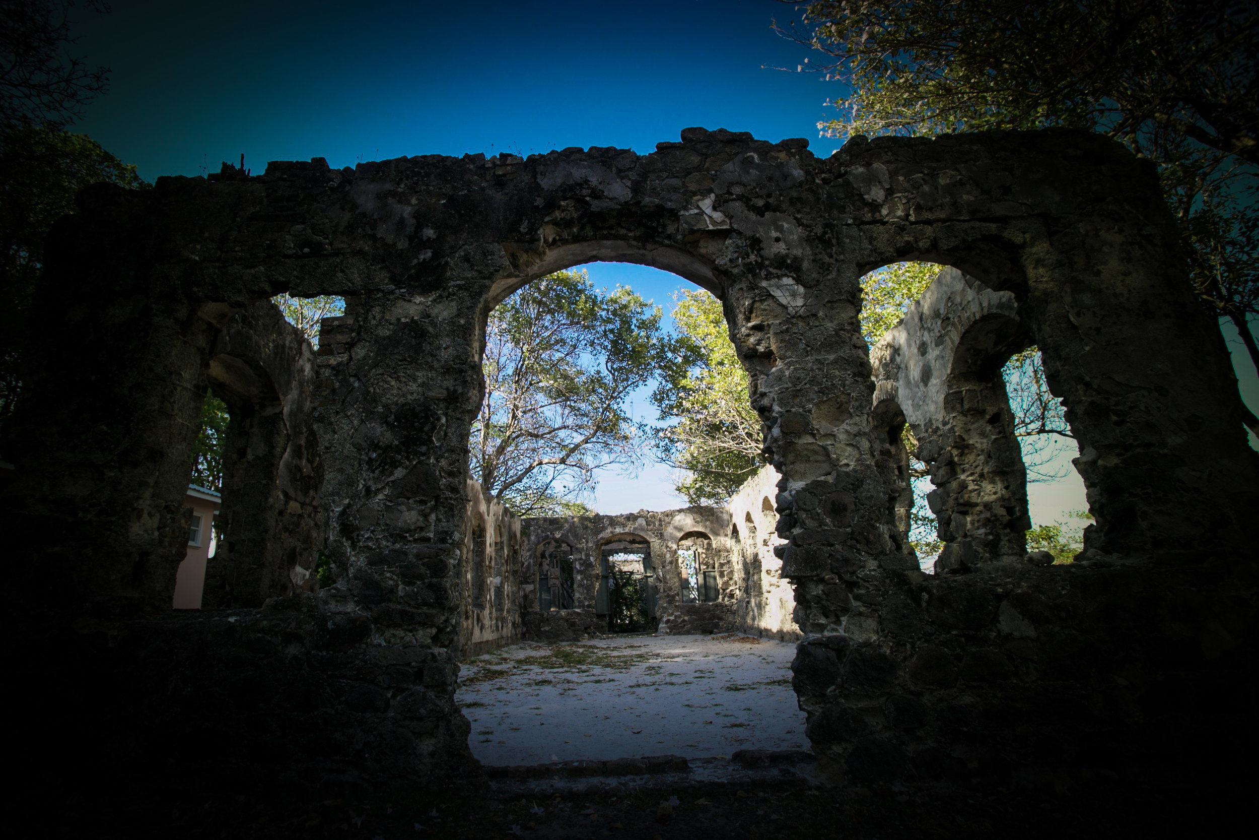 The ruins are a perfect setting for a wedding shoot within the ruins of military buildings used during the battles between the French and the British for the island of Saint Lucia. Photography Courtesy of The Aisle Photography