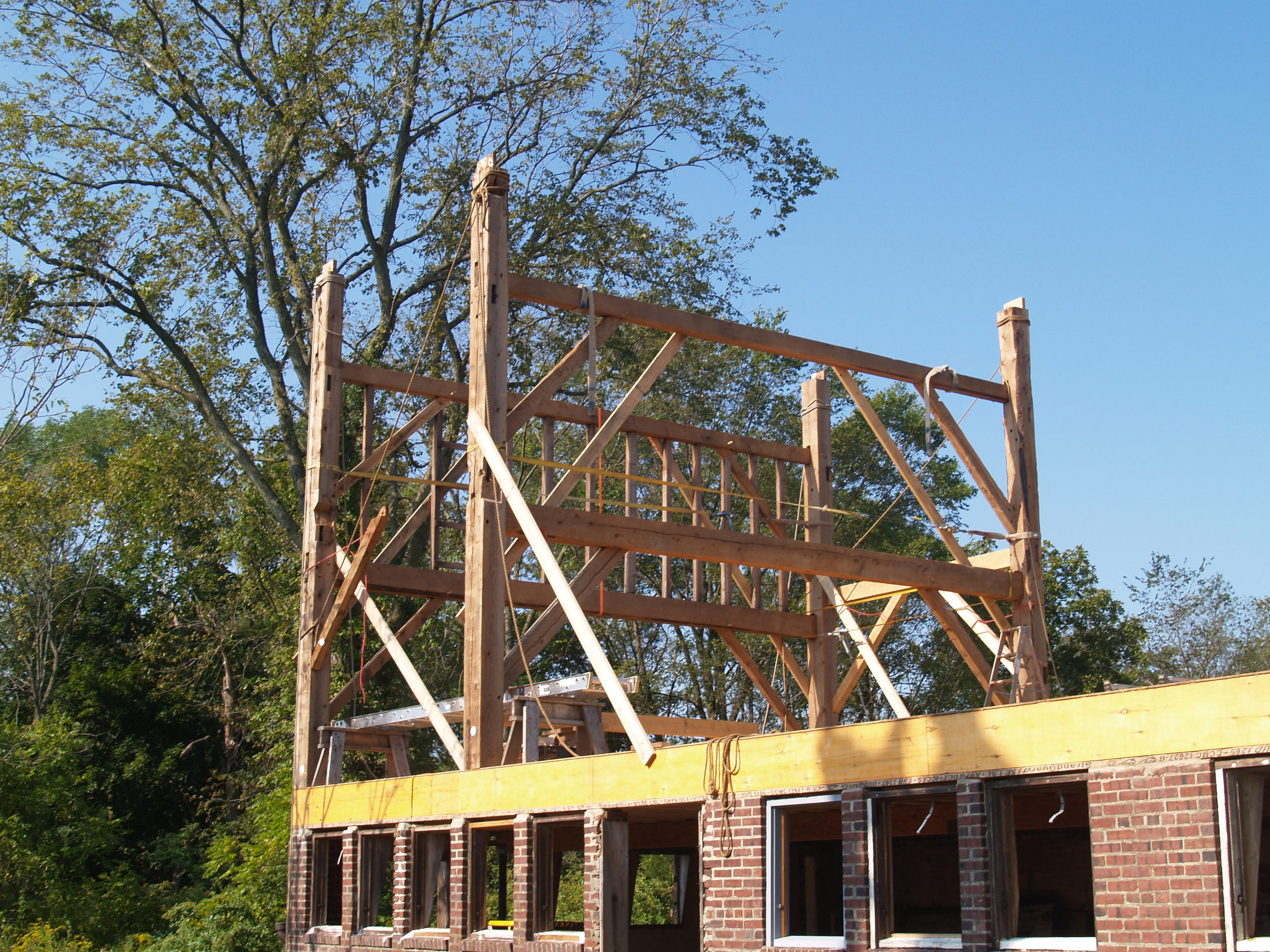 Here, a team of skilled timber framers from the New Jersey Barn Company, begin to erect restored bents in the dairy barn.