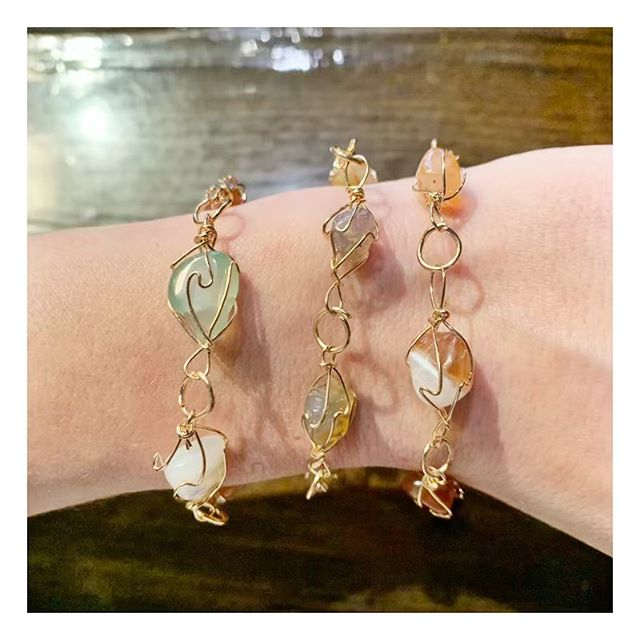 Been making some new things for the shop- these little gemstone bracelets are out and ready for a home :) . . . . . . . . . . #me #fashion #ladies #ladiesfashion #like #instagood #love #trendy #instalove #style  #getdresed #jewelry #design  #chicago #meetthemaker #locallove #gemstone #handmade #instafashion #styling  #madebyme #shop #shopping #boutique #fashiontrend #instyle #trendwatch