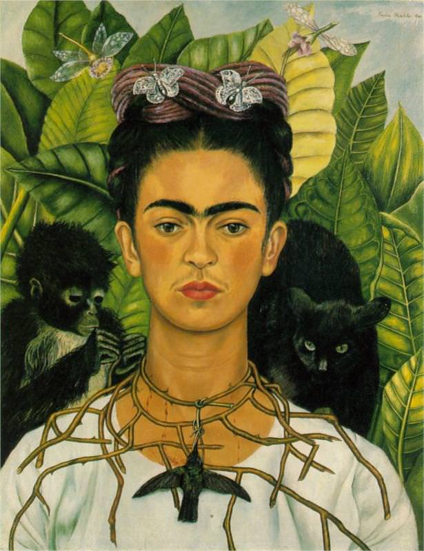 Self-Portrait with necklace of thorns and hummingbird, 1940