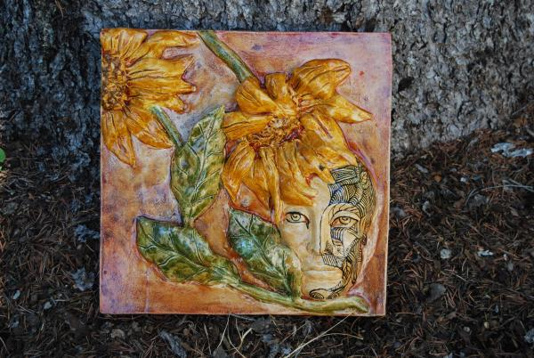 "Painted Sunflower Plaque   Original   Cast Concrete   12"" x 12"" x 2""   $395"