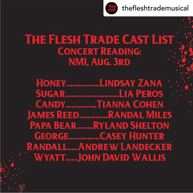 Excited to be working with this talented bunch of people for a concert reading of @thefleshtrademusical ! Join us in August for some wild, bloody fun. #nmistagesfestival #musicaltheatre #newmusical #cannibals