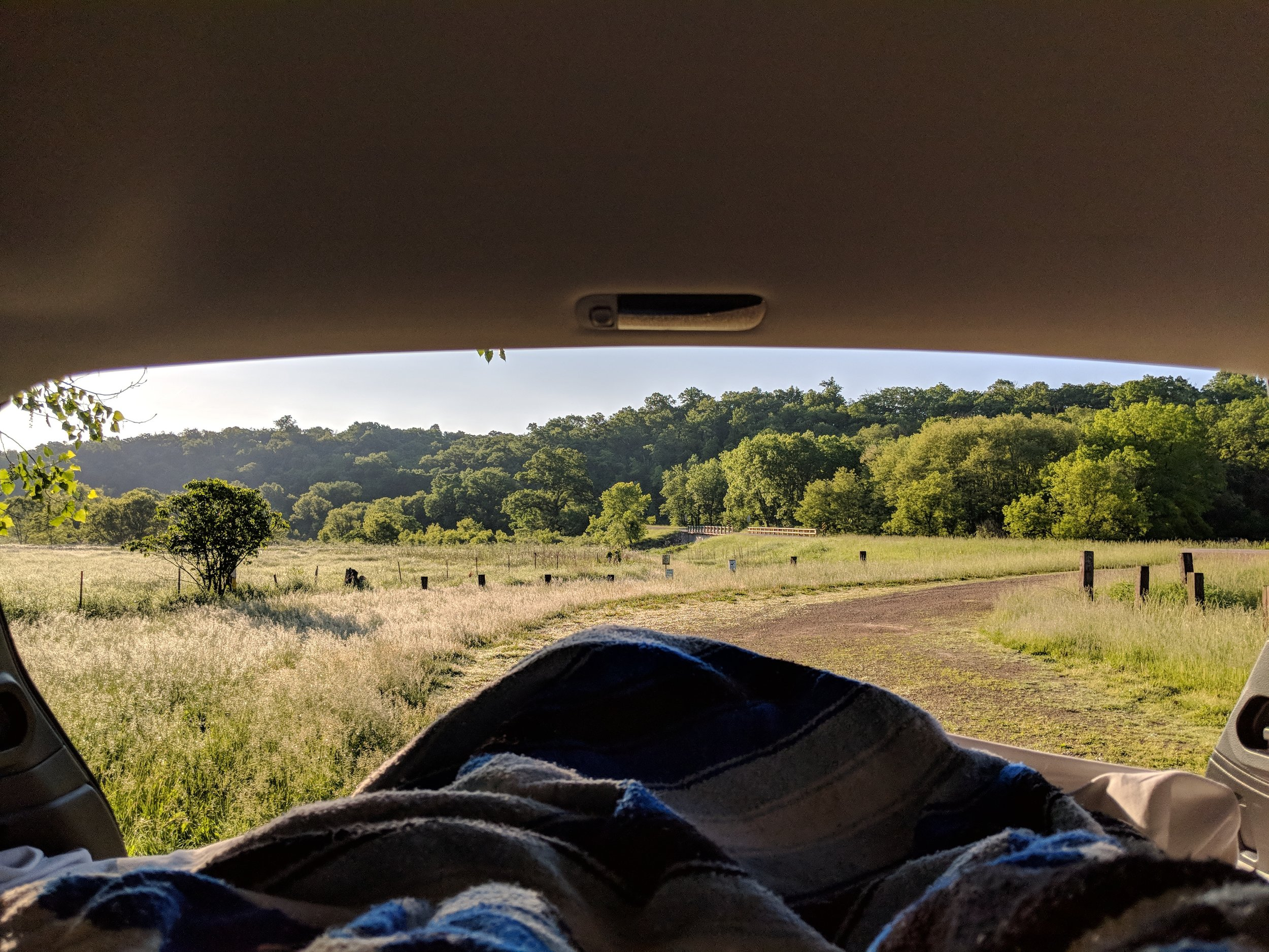 Morning view from the car near Castle Rock, WI.