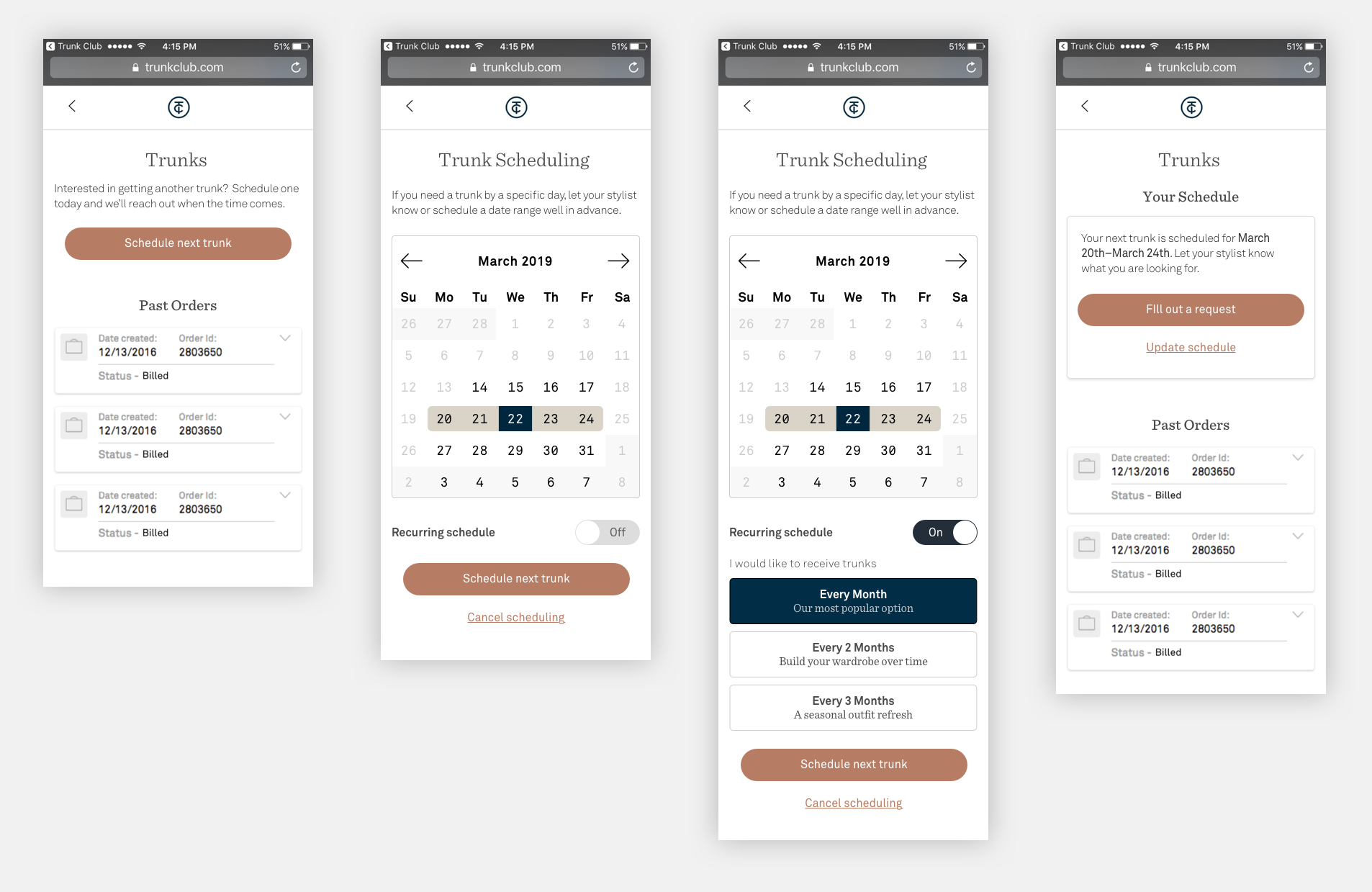 Updated Scheduling UI with a new home and recurring options.