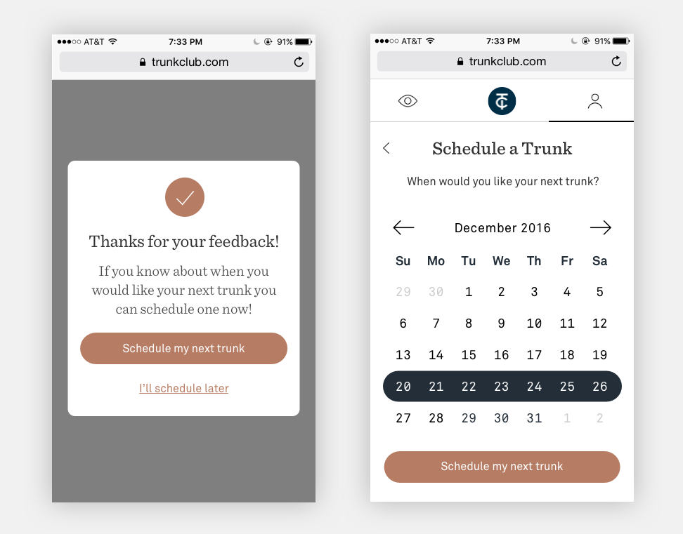 Early designs featured a full-week date-picker, something we would come back to revisit.