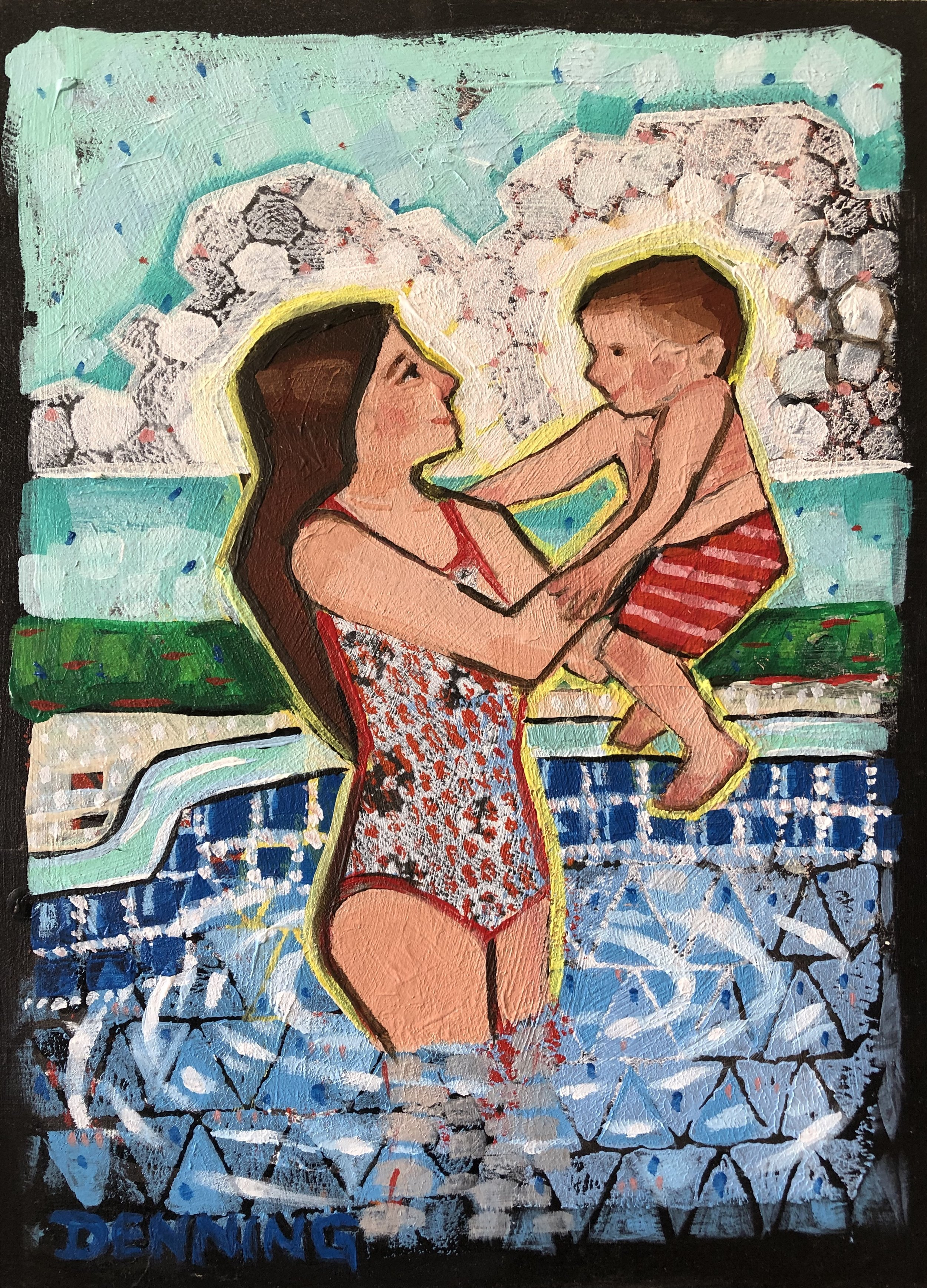 Hawaiin Love Hugging Art Painting Rainbow