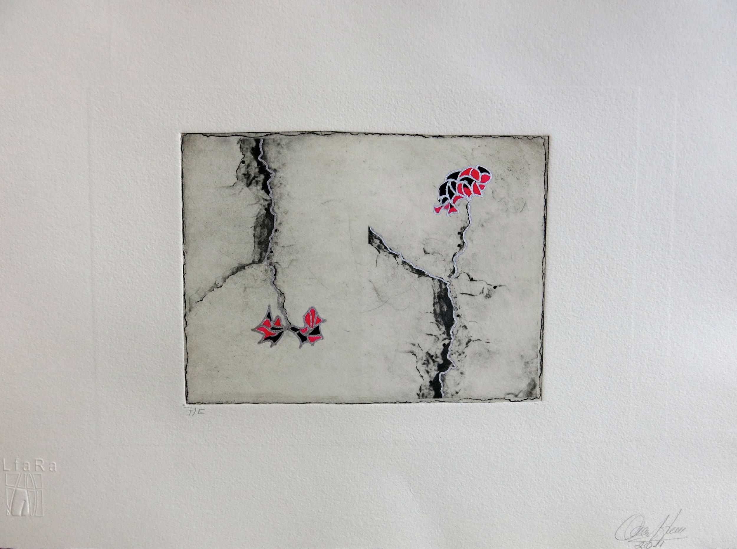 """""""fisuras I"""" 30 x 40 cm. técnica mixta"""