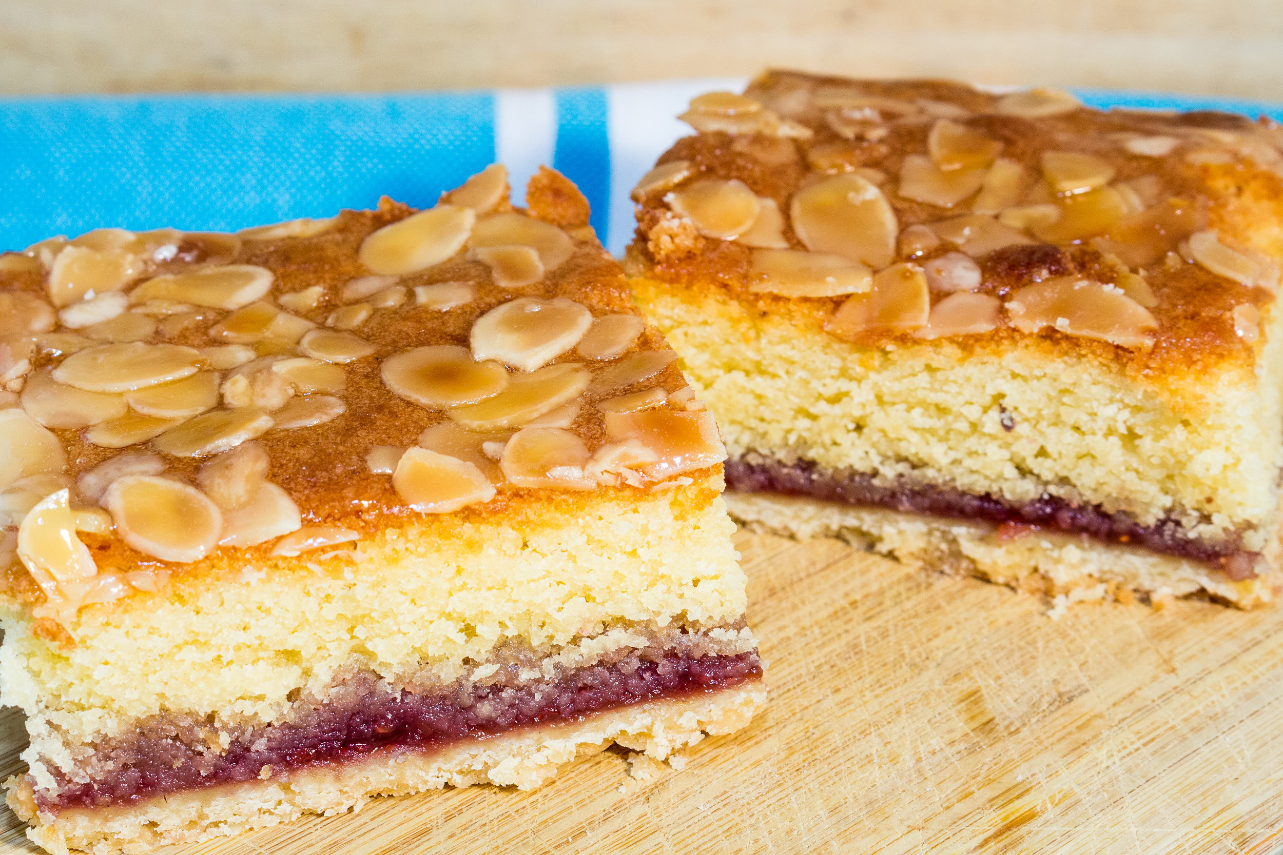 BAKEWELL TART ² ⁴ ⁷ ¹⁰ - OUR VERSION OF THE CLASSIC BAKE WELL TART WITH ALL OF THE DELICIOUS LAYERS TOPPED WITH A STICKY APRICOT GLAZE AND TOASTED ALMONDS
