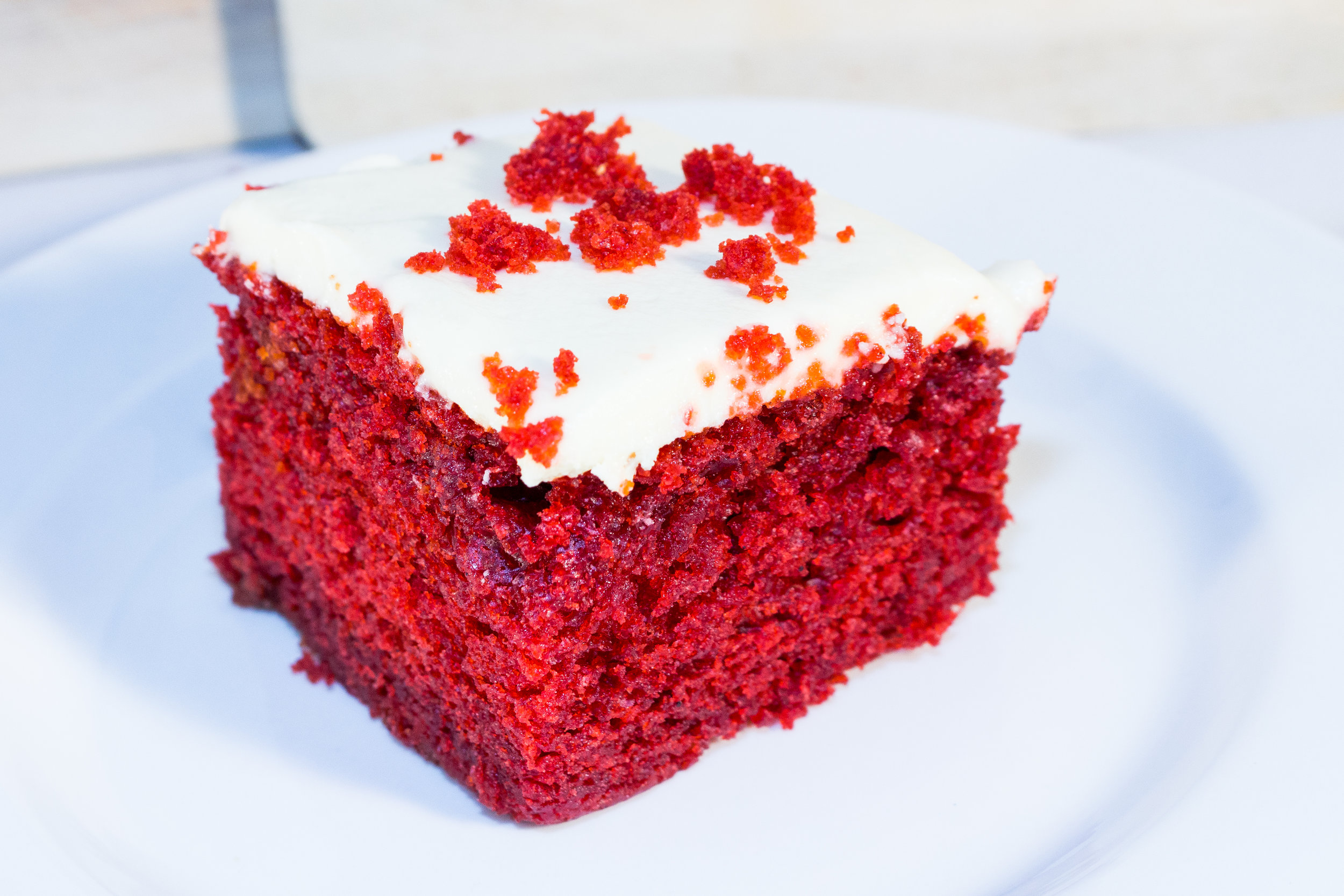 RED VELVET CAKE ² ⁴ ⁷ - A DISTINCT CHOCOLATE FLAVORED CAKE TOPPED WITH A THICK LAYER OF DELICIOUS CREAM CHEESE FROSTING