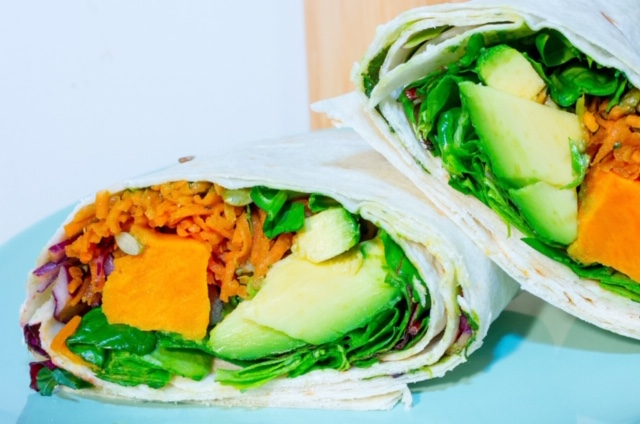 VEGAN SUPERFOOD WRAP Ⓥ - A DELICIOUSLY CRUNCHY VEGAN WRAP WITH GRATED CARROT, RED CABBAGE, SWEET POTATO CHUNKS, HOUSE GUACAMOLE & MIXED LEAVES