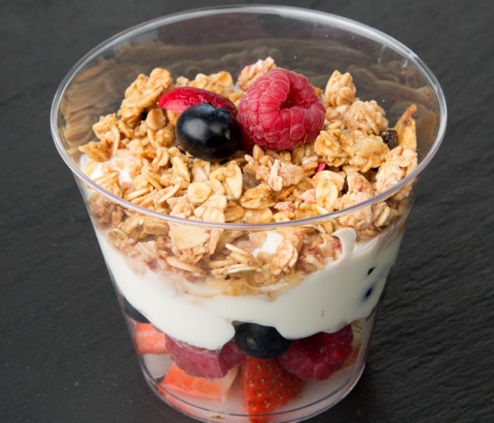 FRESH FRUIT SALAD WITH NATURAL YOGURT & IRISH GRANOLA POT 🌱 - Fresh fruit salad pot topped with Natural yogurt & our deliciously crunchy Irish granola.