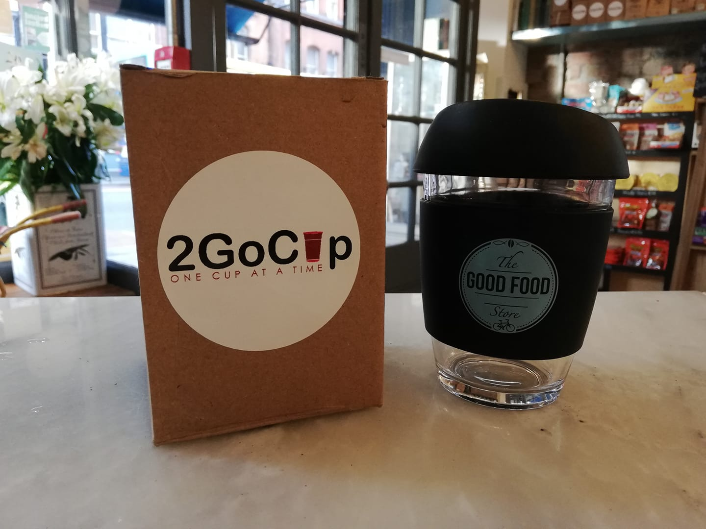 The Good Food Store Coffee Keep Cup  - Around 22,000 coffee cups are disposed of every HOUR in Ireland and with this in mind, we decided to get our own reusable 2 Go cups, available in both of our stores now. Anyone using a reusable cup when getting coffee will get 15c off - we're hoping that steps like these will reduce our environmental footprint, and yours too!