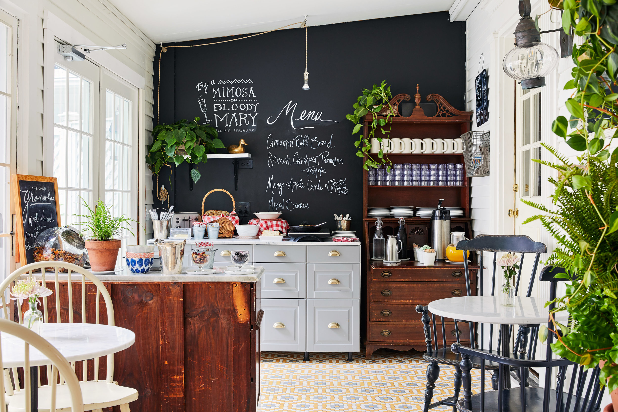 breakfast room with menu board