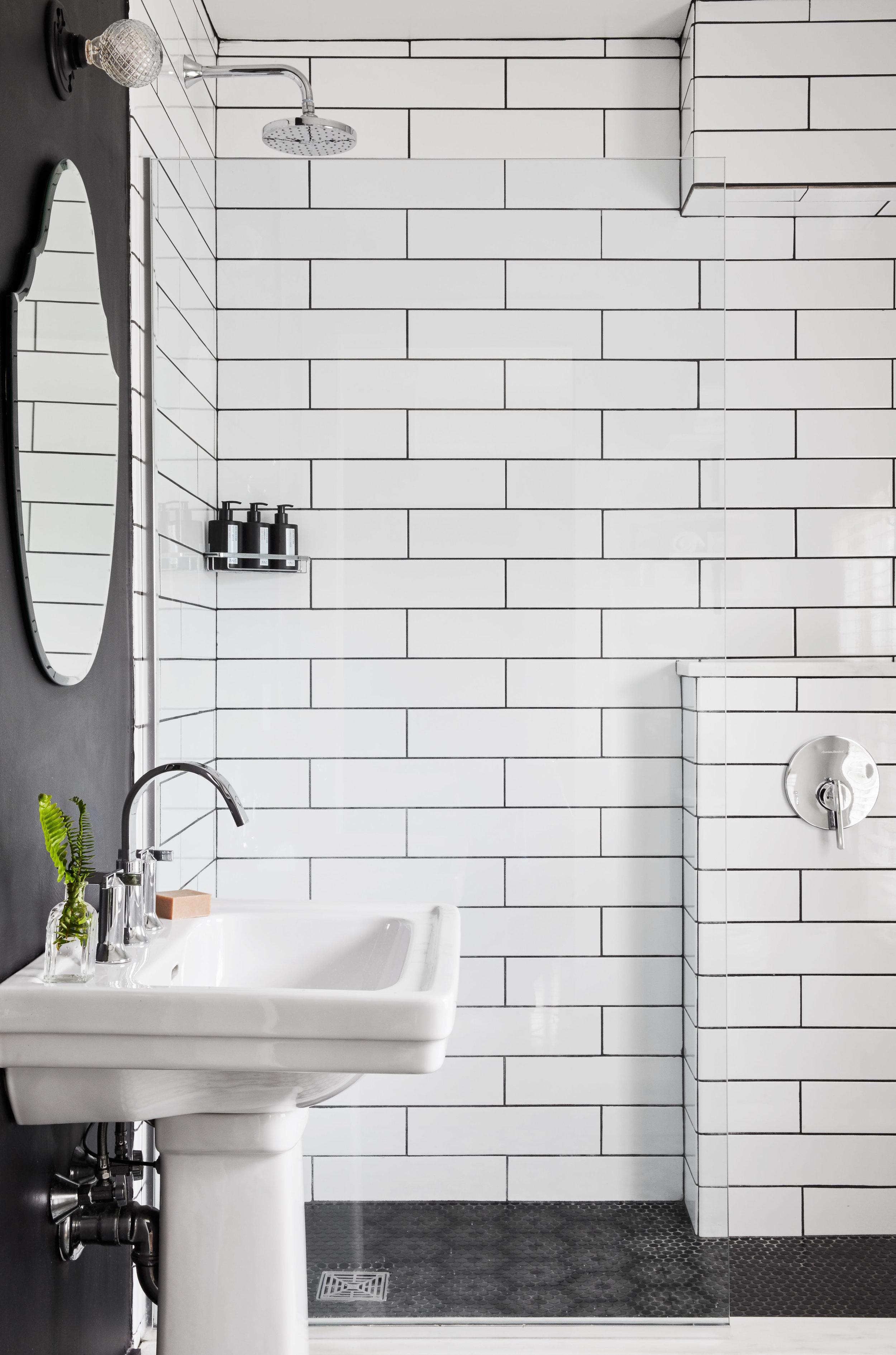 bathroom tile and sink