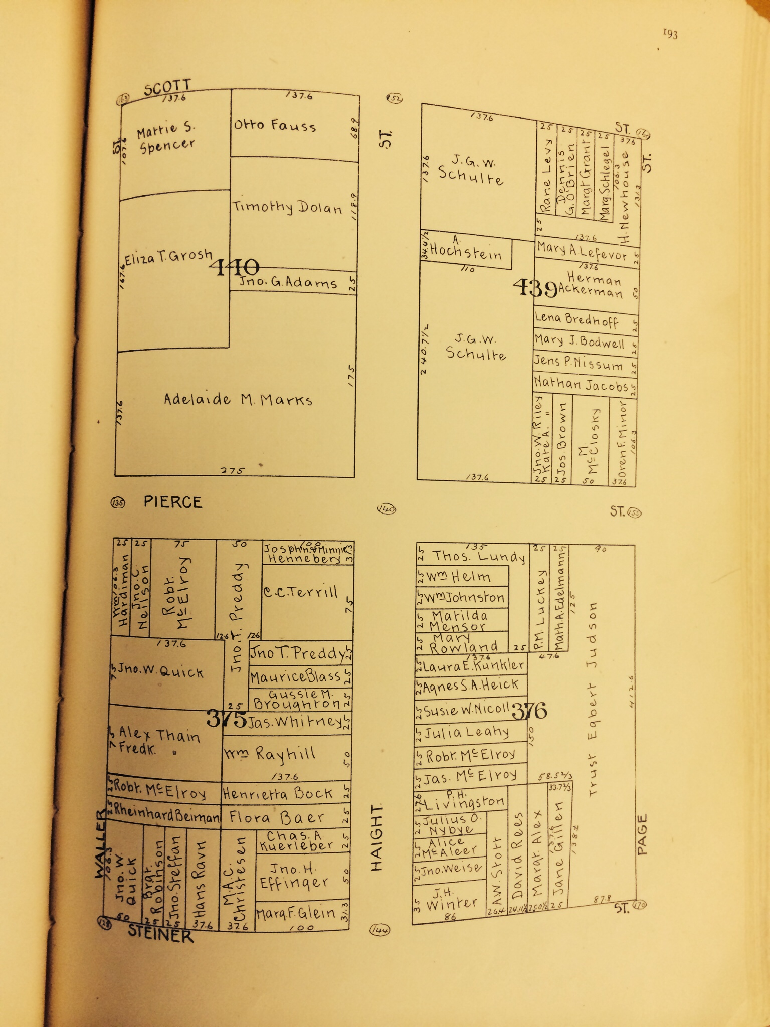 1894 Block Book of San Francisco. See Block 440 Above.