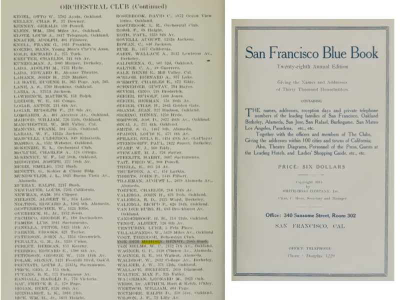 Property owner Von Der Mehdan listed as member of the 1914 SF Orchestral Club.
