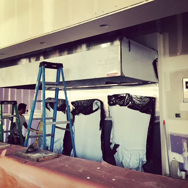 Kitchen Hood  Finally got this giant piece of equipment off of our floor and into its right place. Everything in it's right place.