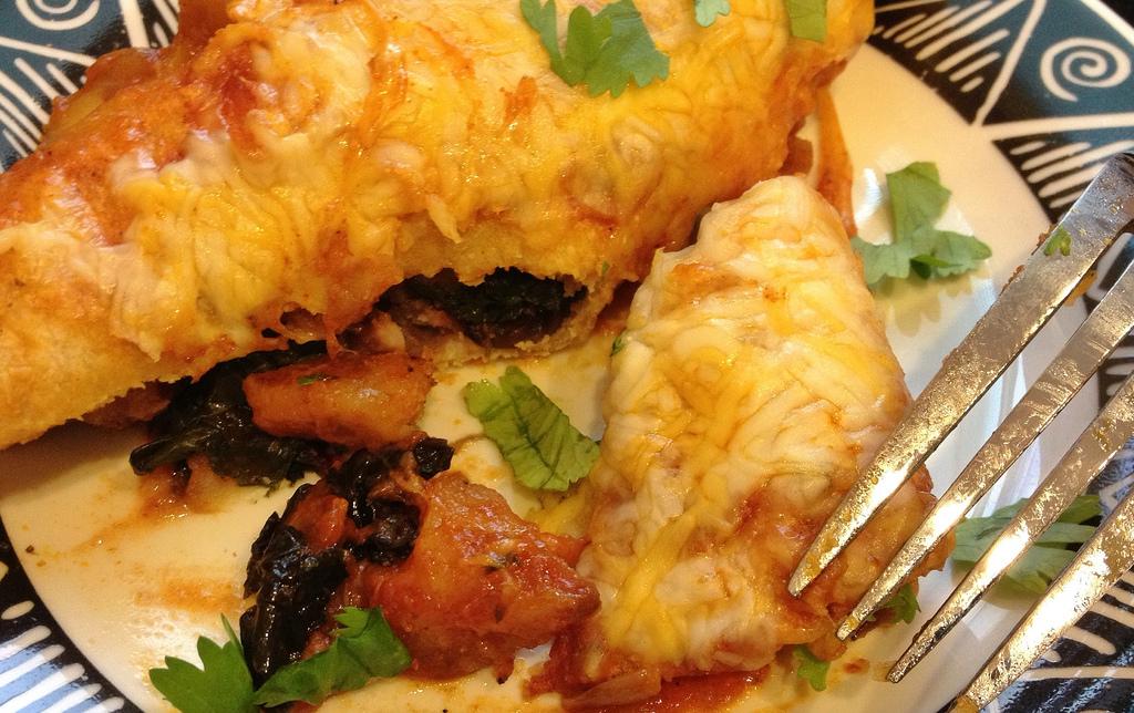Potato and vegetable enchiladas