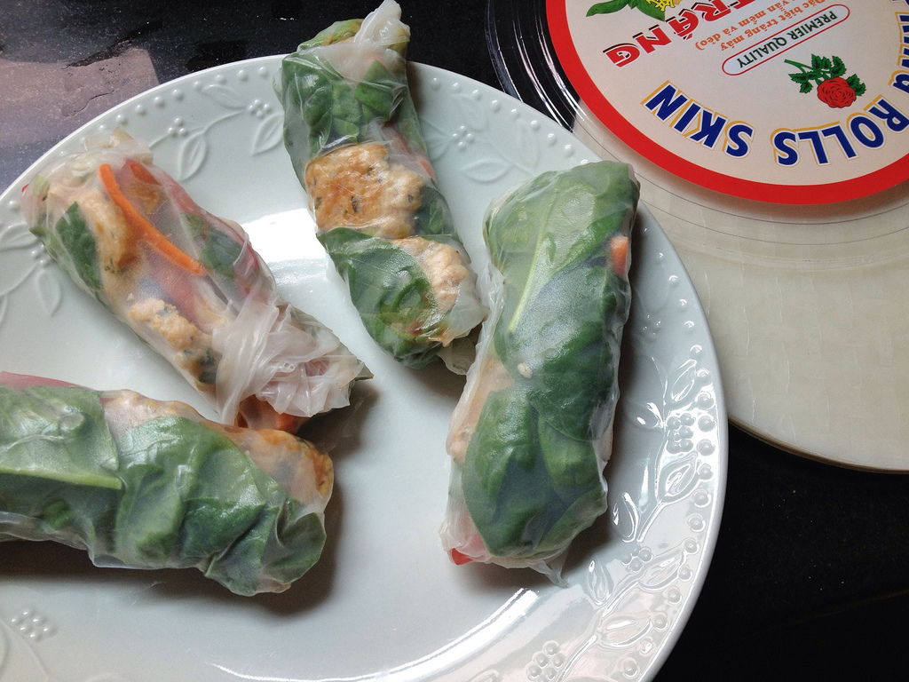 Thai basil turkey meatball spring rolls