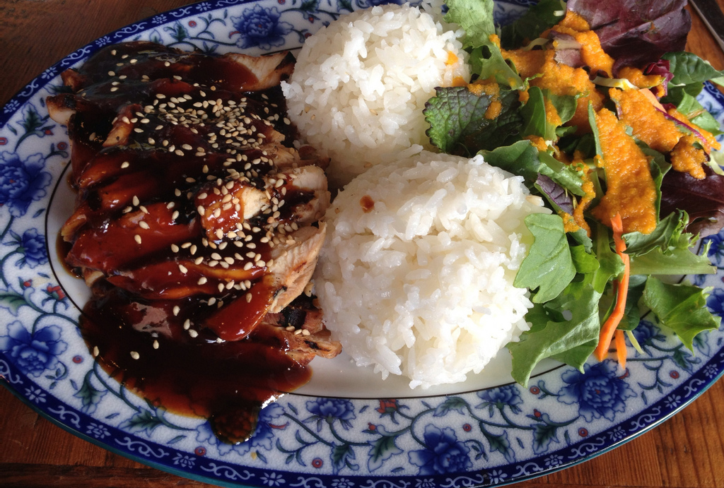 Chicken teriyaki from Glaze SF - am I the only one who wonders about the boob rice trend in restaurants like this?