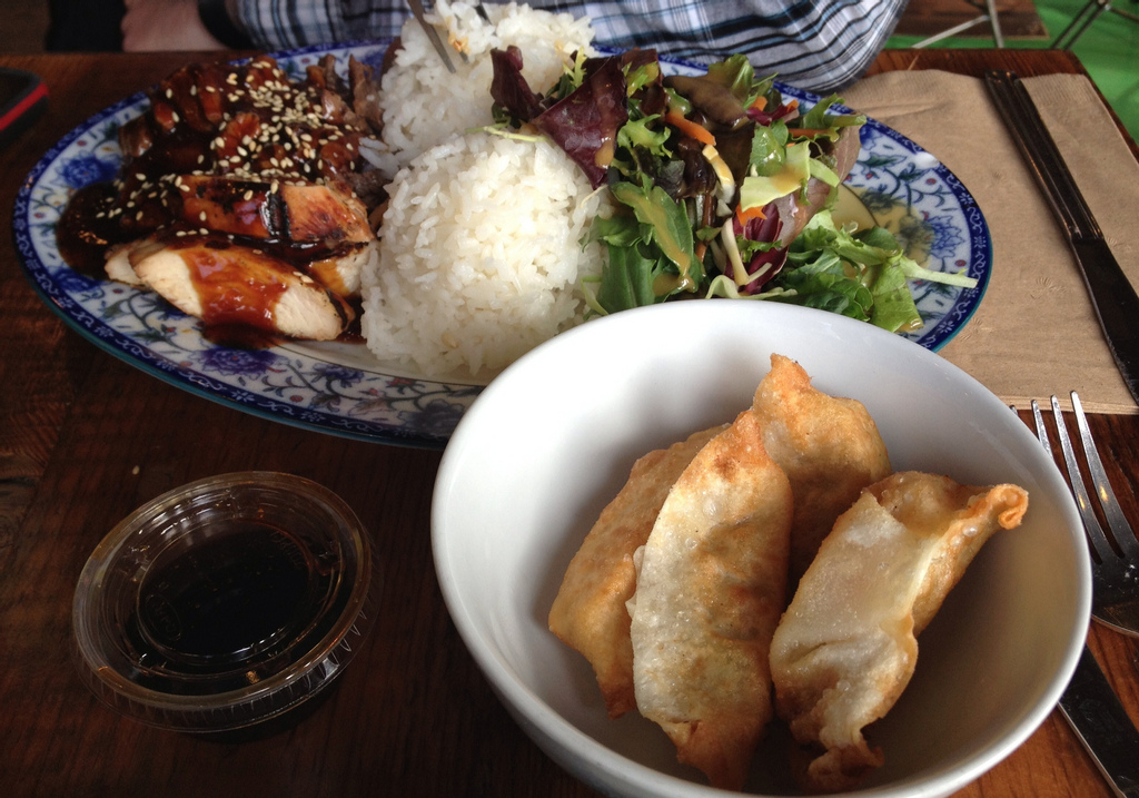 Chicken teriyaki and steak teriyaki with vegetable gyoza from Glaze SF